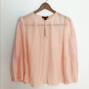 J. Crew Tops - J Crew Peach Embroidered Bell-Sleeve Silk Blouse